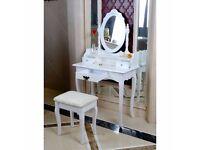BRAND NEW White Dressing Table, Oval Mirror & Stool Set (3 Drawer)