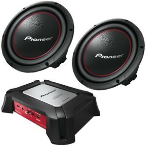 2 10 inch pioneer subwoofers with amp and box