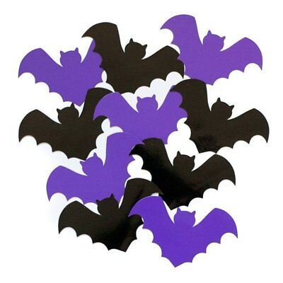 10 HALLOWEEN BAT CUTOUTS DECORATION HORROR PARTY CRAFT PURPLE BLACK BATS - Halloween Balloon Crafts
