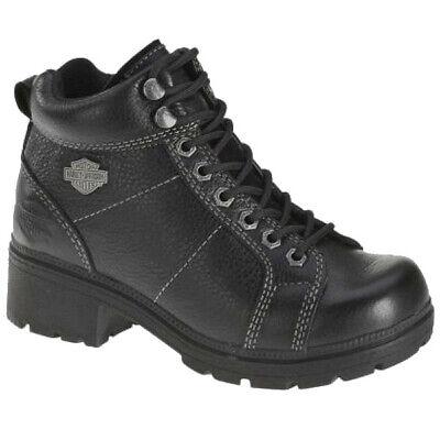 Leather Lace Chukka (Harley-Davidson Womens Tyler Black Leather Lace-up Chukka Biker Boots)