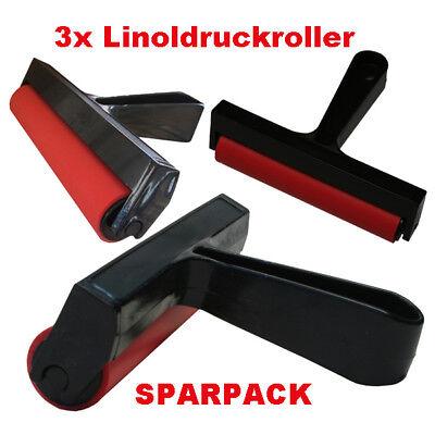 Linoldruckroller 3 Stück 10cm breit Druckwalze Farbroller (NEU) SPARPACK