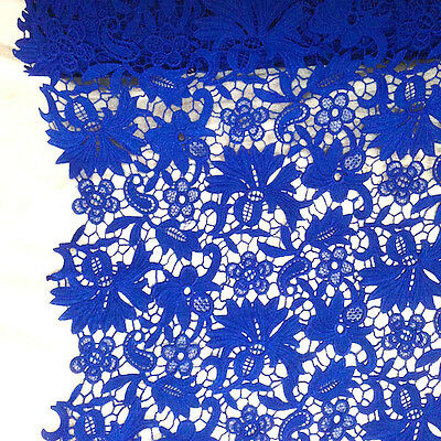 Venice Flower - Bell Flower Guipure Venice French Lace Embroidery Fabric White Gold Brown Blue