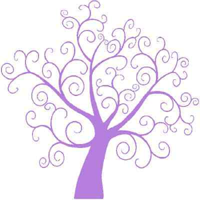 30 Custom Purple Swirl Tree Personalized Address Labels