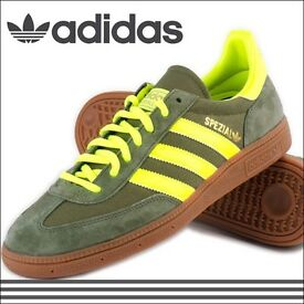 Adidas Originals Spezial trainers size UK 11 in Olive & Neon Yellow. CAN POST