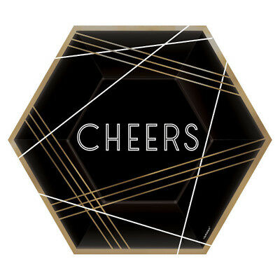 BLACK GOLD AND WHITE CHEERS HEXAGON LUNCH PLATES-SET OF 8 (9in)-NEW](Gold And White Paper Plates)