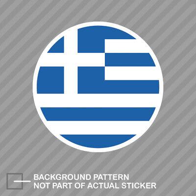 Greek Flag Sticker (Round Greek Flag Sticker Decal Vinyl Greece)