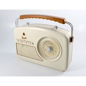 GPO Rydell 1950s Retro Four Wave MW LW FM SW Radio Mains/Battery Operated Cream