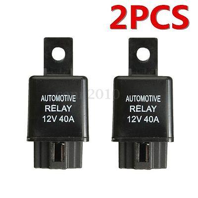 2x 12V 40A 40 AMP Car Auto Automotive Van Boat Bike 4 Pin SPST Alarm Relay US