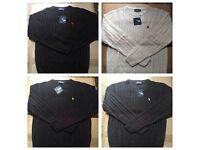 Ralph Lauren men's polo sweatshirt round neck wool small pony £18 each