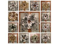 Handmade Christmas wreaths, decorations.