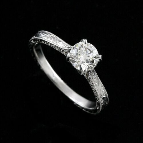 Solitaire Petite Engagement Ring Hand Engraved Brilliant Diamond GIA Certified