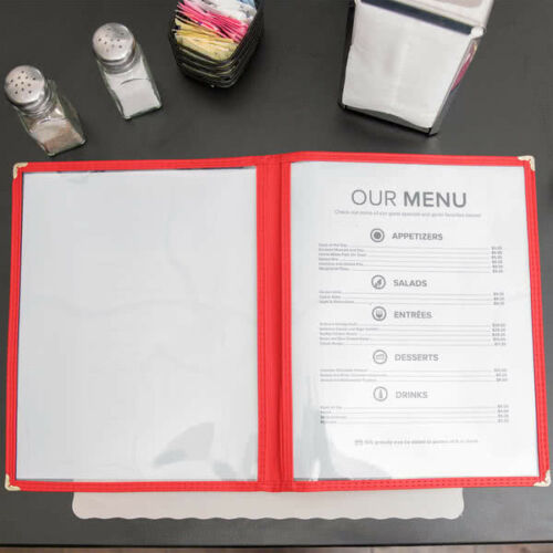 "50 PACK 8 1/2"" x 11"" Red Vinyl 2 Page Pocket Clear Menu Cover Restaurant Two"