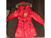 Girls red Barbour International padded coat. 140cm (age 8-9) BNWT
