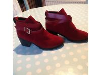 LADIES RED SUADE BOOTS BRAND NEW ONLY £12