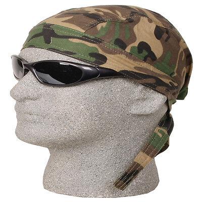 WOODLAND GREEN CAMO CAMOUFLAGE FITTED TIED BANDANA Doo Do Rag Skull Cap Head  - Green Bandanna