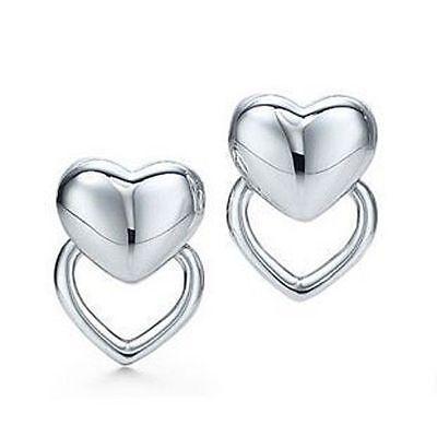 Damen Ohrstecker Doppelherz Herz Ohrringe 925 Sterling Silber plattiert Schmuck