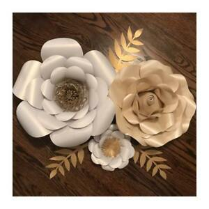 Paper flowers and cake toppers