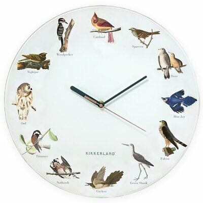 KIKKERLAND 38cm WILD BIRDS CALL WALL CLOCK with SOUND Large ROUND Cuckoo