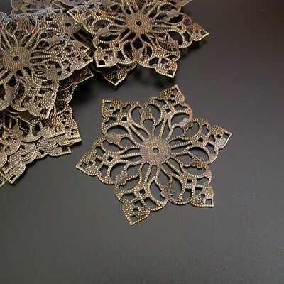 20 FILIGREE Vintage Ornament Bronze Farbe - BLUME 48x55 mm - p00739x5