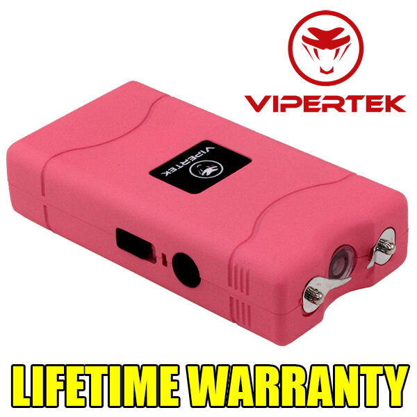 VIPERTEK PINK Mini Stun Gun VTS-880 50 BV Rechargeable LED Flashlight