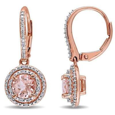 6.13 CTTW Morganite Gemstone Dangling Earrings in 14K Rose Gold 👂