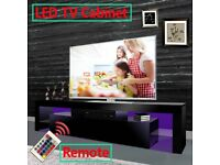 DESIGNER GLOSS TV STAND UNIT WITH LED RGB LIGHTS WITH REMOTE BLACK