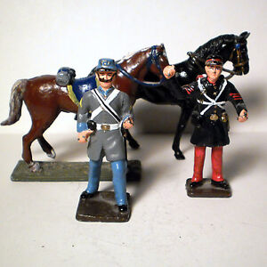 CIVIL WAR TOY SOLDIERS AND HORSES ALL METAL HAND PAINTED