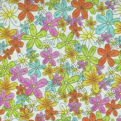 GROOVY FLOATING BRT FLOWERS ON WHITE Cotton Fabric BTY for Quilting, Craft, Etc (Fabric Floating Flowers)