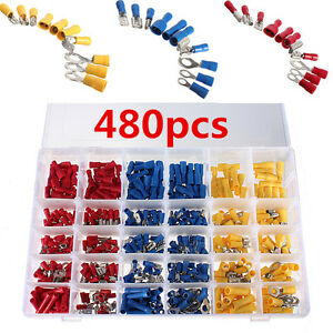 480Pcs Assorted Crimp Terminals Set Insulated Electrical Wiring Connector Kit