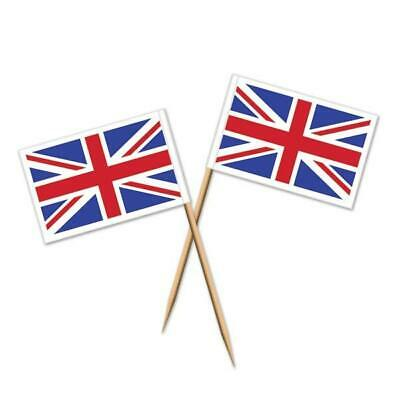 UNION JACK FLAG PICKS X 50 FOR THEMED BRITISH BRITAIN CELEBRATION PARTY - British Themed Party