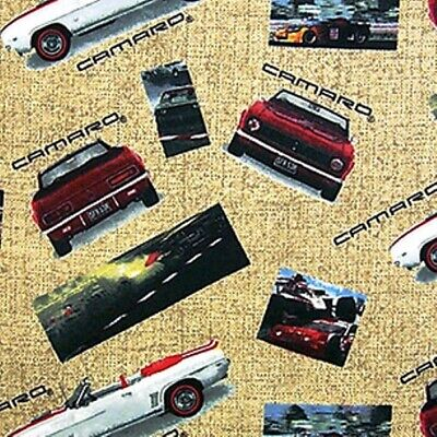 Flannel Classic Chevy Camaro Cars Racing Photo Beige Cotton Fabric Fat -