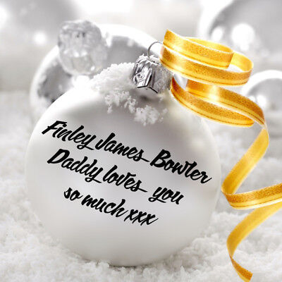 PERSONALISED CHRISTMAS MESSAGE NAME DECAL STICKER FOR BAUBLE DECORATION LOVE DIY