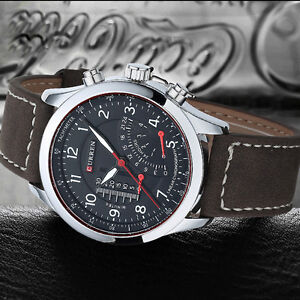 Casual Military Men's Quartz Analog Watch With Leather Strap