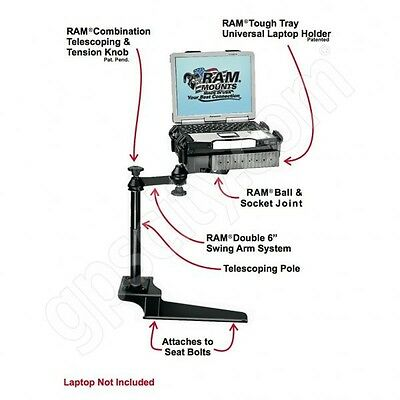 RAM-VB-185-SW1 No-Drill Laptop Mount for the Ford F-250, F-350, F-450, F-550+ for sale  Shipping to India