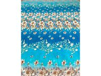King size blanket bed throw BLUE FLOWERS very soft and warm