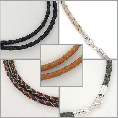 Sterling Silver 3mm Braided Genuine Leather Cord Necklace/Bracelet Lobster -