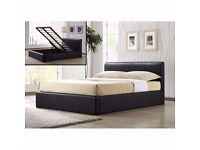 BRAND NEW 4ft6 Double/4ft Small Double Leather Ottoman Storage Lift up Bed and Orthopedic Mattress