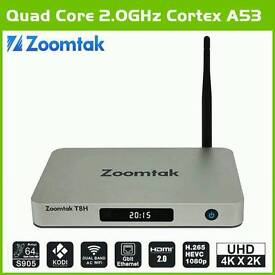 NEW ZOOMTAK T8H! ANDROID TV BOXES 16GBRO 2GB RAM 64 BIT