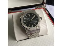 Black full stainless mens clearback brushed steel mens automatic watch audemars piguet boxed