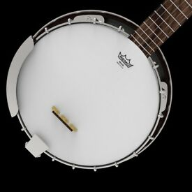 5 String Banjo, Open Back, Remo Head, Leather Gig Bag Offer accepted