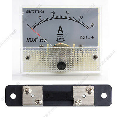 1 Dc 50a Analog Panel Amp Current Meter Current Shunt 85c1 Ammeter Gauge