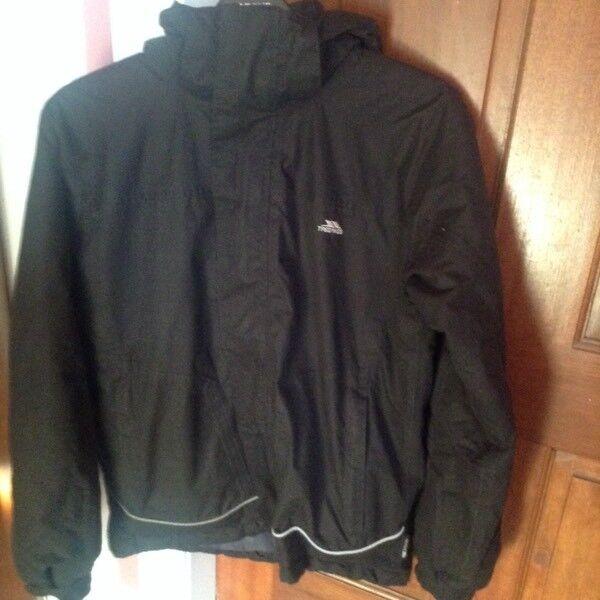 0511bc748 Boys Black Trespass Waterproof Jacket