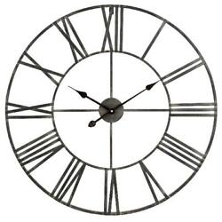 Large Wall Clock 30 Iron Industrial Rustic Big Metal Distressed Gray Roman Num