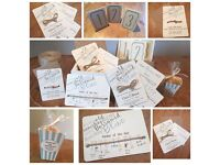 Wedding stationery and sweet cart, wishing well, seat cover hire