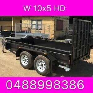 10x5 HD tandem trailer w ramp 2ton 1 pc fold 2.5mm checker plate