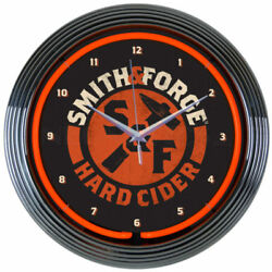 Neonetics 15 Smith and Forge Hard Cider Neon Clock Man Cave NEW LOOK 8MCSMF