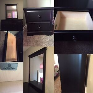 Distressed look Dresser with mirror and night stand