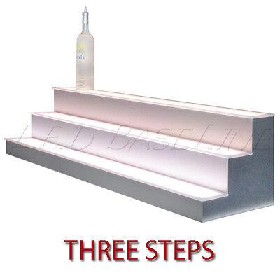 96 3 Tier Led Lighted Liquor Display Shelf - Stainless Steel Finish