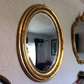 Vintage Gold framed Oval mirror