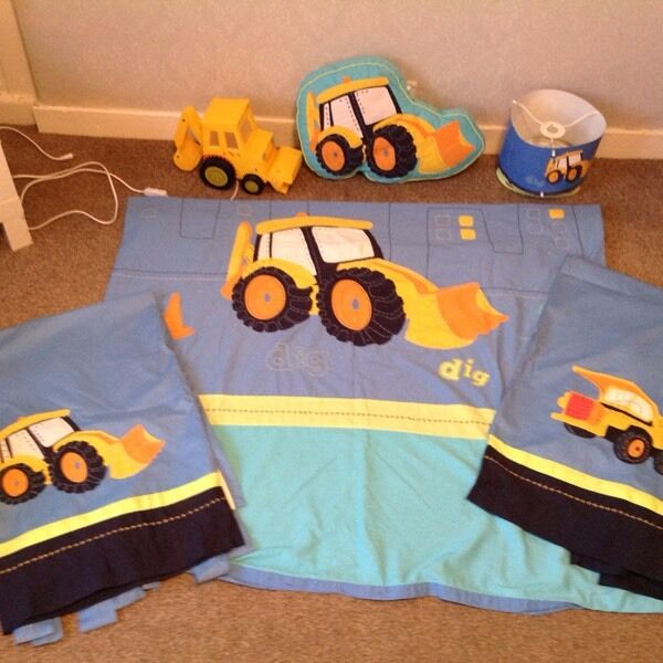 Next boys digger bedding bedroom set - lamp curtains | in ...